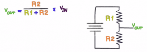 Equation and Diagram for a Voltage Divider